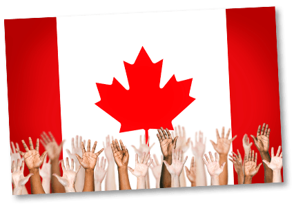 Canadian flag with many diverse hands raised in front of it