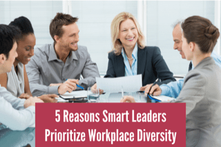 """group of diverse team members around office table. Text over image reads """"45 reasons smart leaders prioritize workplace diversity"""""""