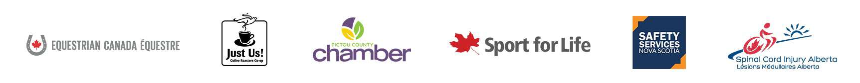 Logos of Equestrian canada, Hust Us! Coffer, Pictou County Chamber, Sport for Life, Safety Services Nova Scotia, Spinal Cord Injury Alberta